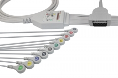 Fixed Snap One piece EKG cables-GE-Marquette